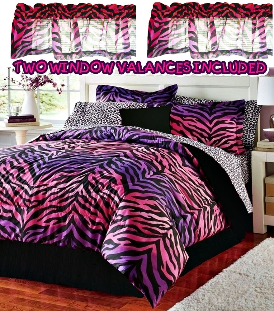 Girls Pink Purple Zebra Leopard Animal Print Twin 9pc