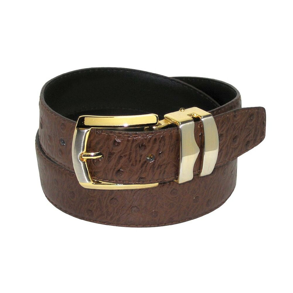 ostrich pattern chocolate brown bonded leather s belt