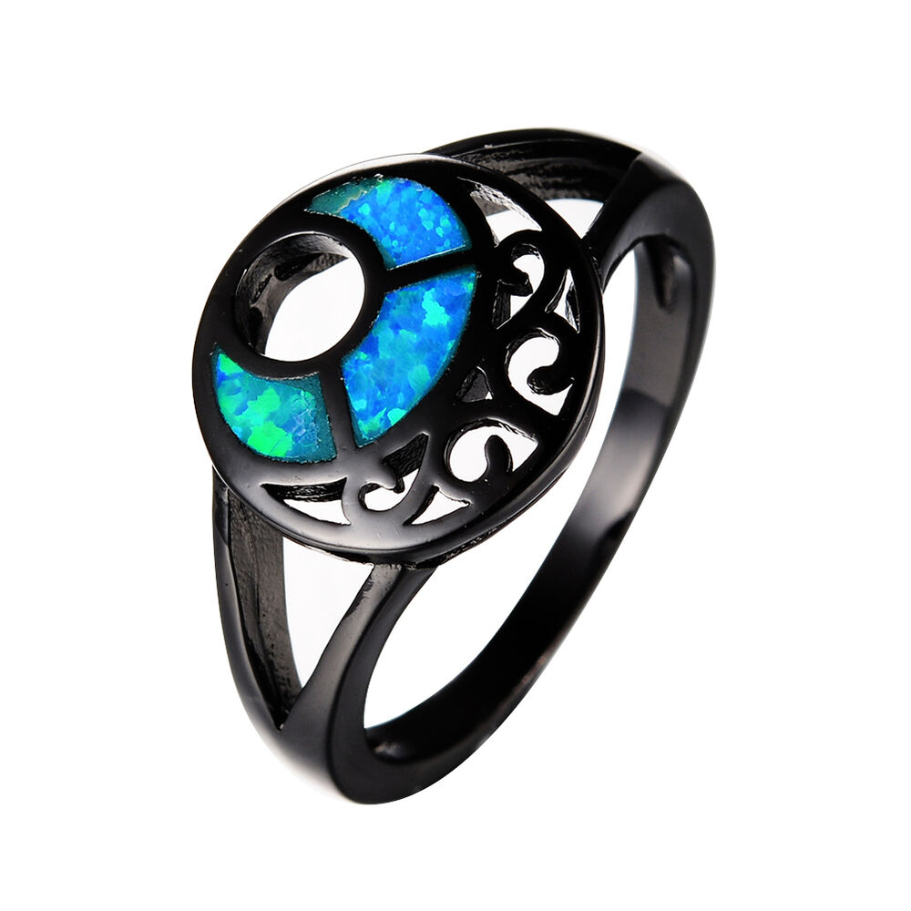 Unique Moon Blue Fire Opal Hollow Wedding Ring Black Gold