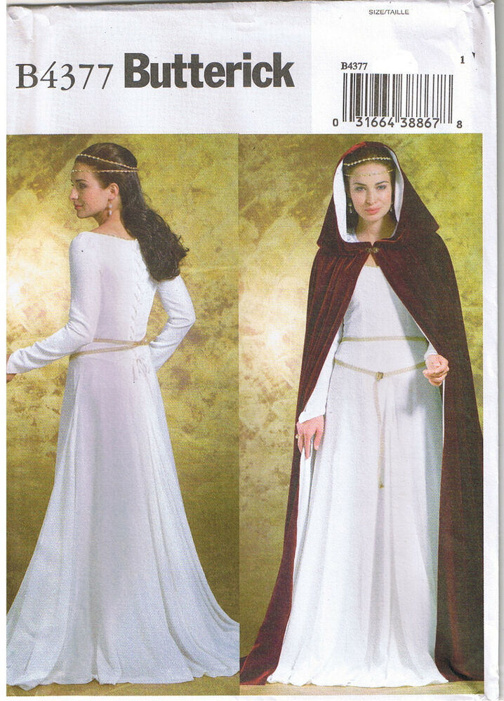 Renaissance back lace up dress gown cape cloak hood sewing for Lace wedding dress patterns to sew