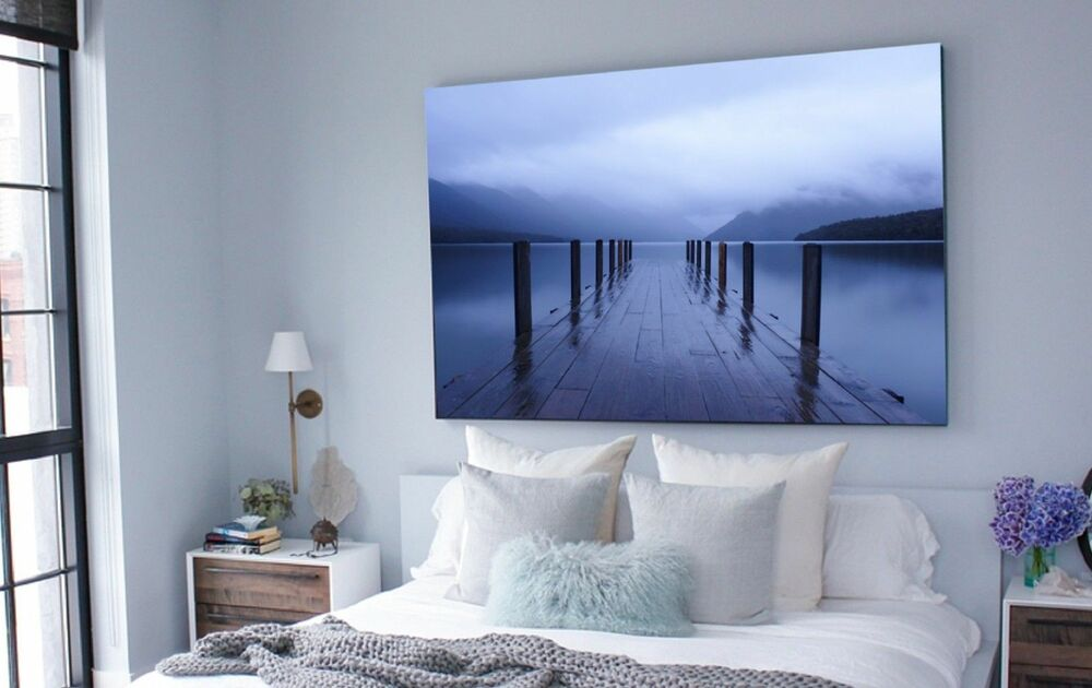 xxl bild natur leinwand 140x95x5 steg am see blau canvas wandbild gem lde ikea ebay. Black Bedroom Furniture Sets. Home Design Ideas