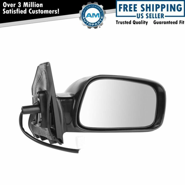 Side View Power Mirror Smooth Black Passenger Right RH for 03-08 Toyota Corolla