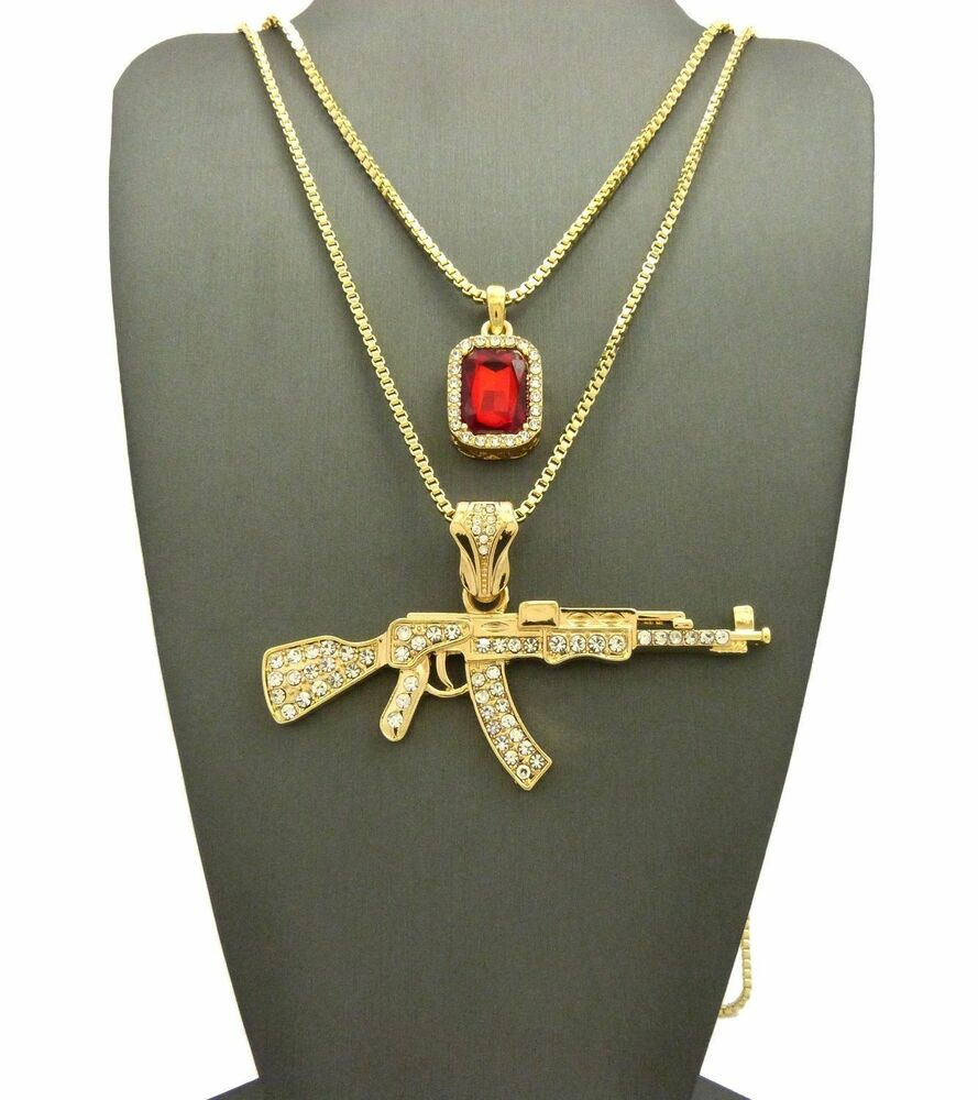 Men S Iced Out Ak 47 Rifle Gun Amp Red Ruby Pendant W 24 Quot 30