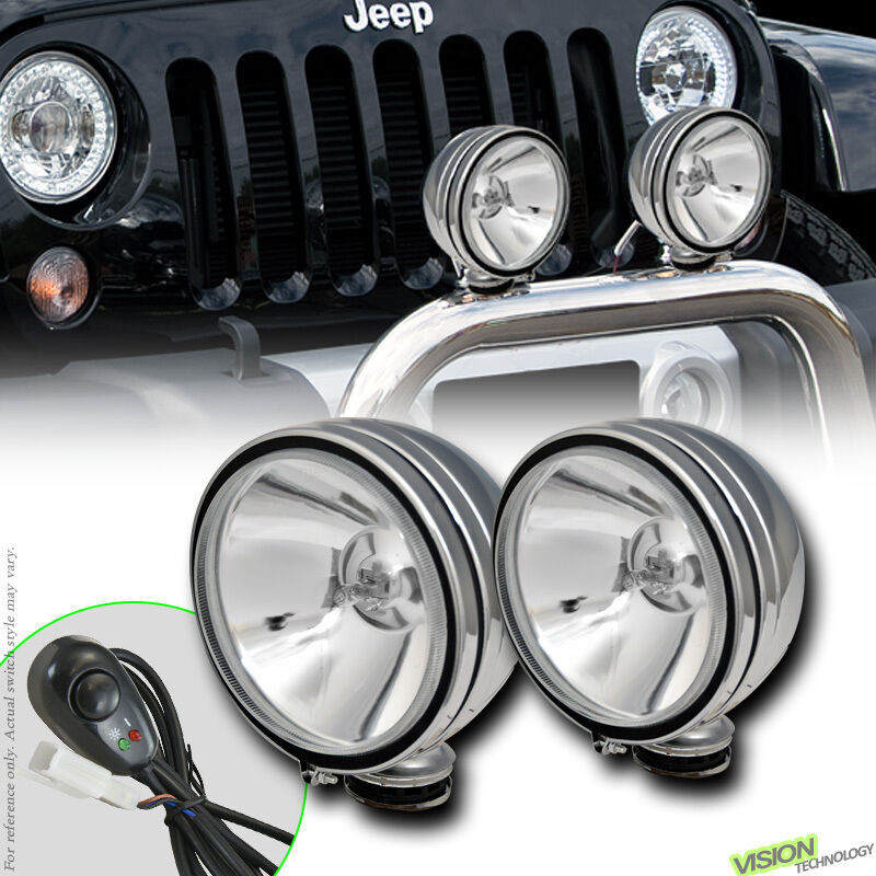 4x4 Off Road 6 Quot Round Chrome Fog Lights Bull Guard Bar