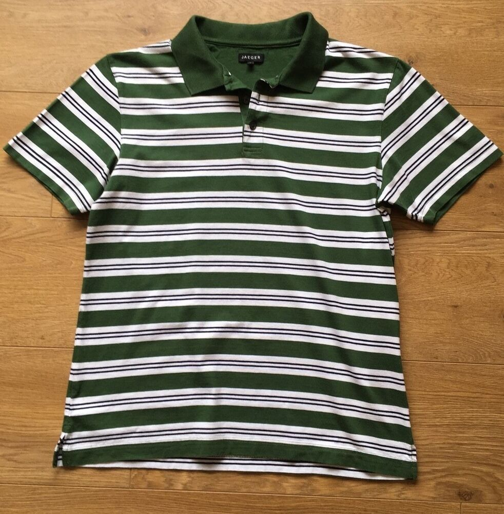 Details about GORGEOUS JAEGER GREEN STRIPE SUMMER POLO SHIRT S SMALL COST  £65 81e205ff70