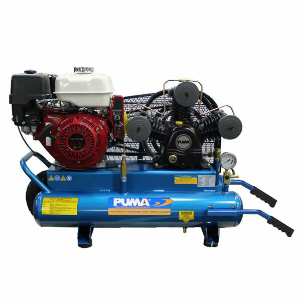 Puma 8 hp 8 gallon gas wheelbarrow air compressor w for Air compressor gas motor