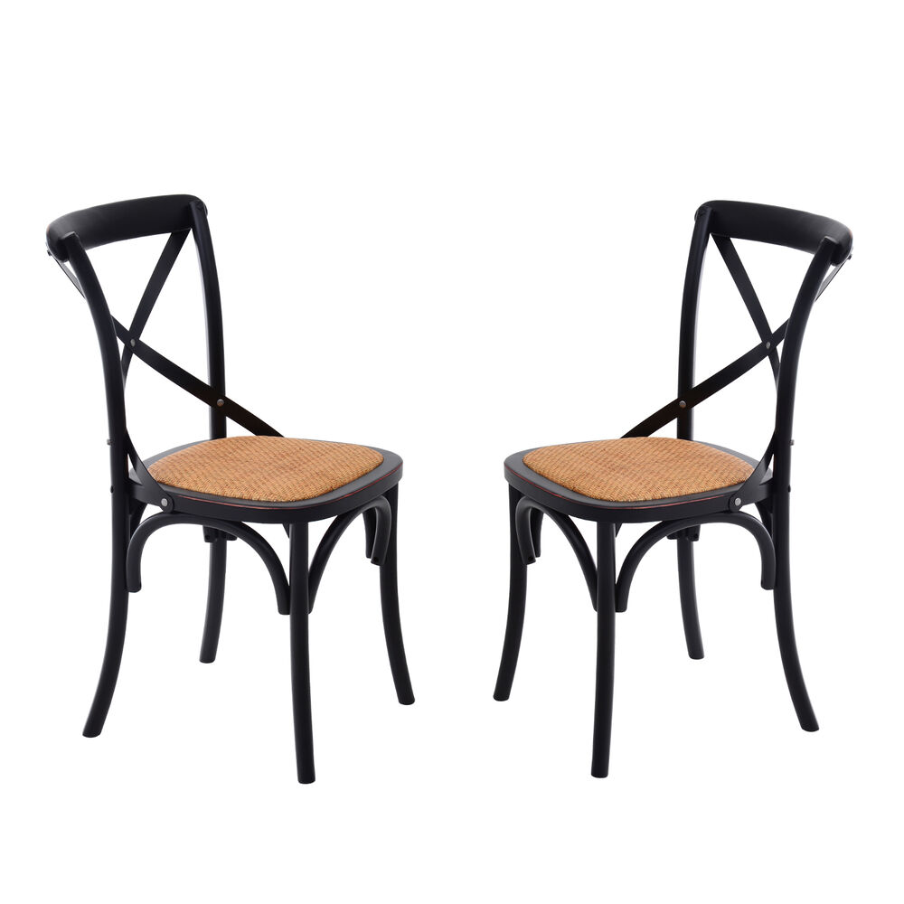 Homcom Dining Chairs Set Of 2 Kitchen Vintage X Back Solid