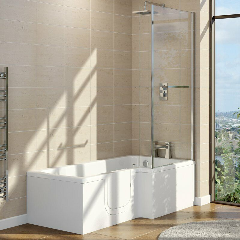 Easy Access Walk In L Shape Shower Bath With Glass Screen
