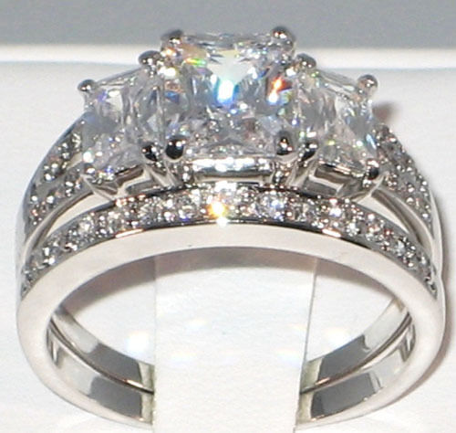 Vintage Wedding Ring Sets: Antique Emerald Cut CZ Anniversary Bridal Engagement