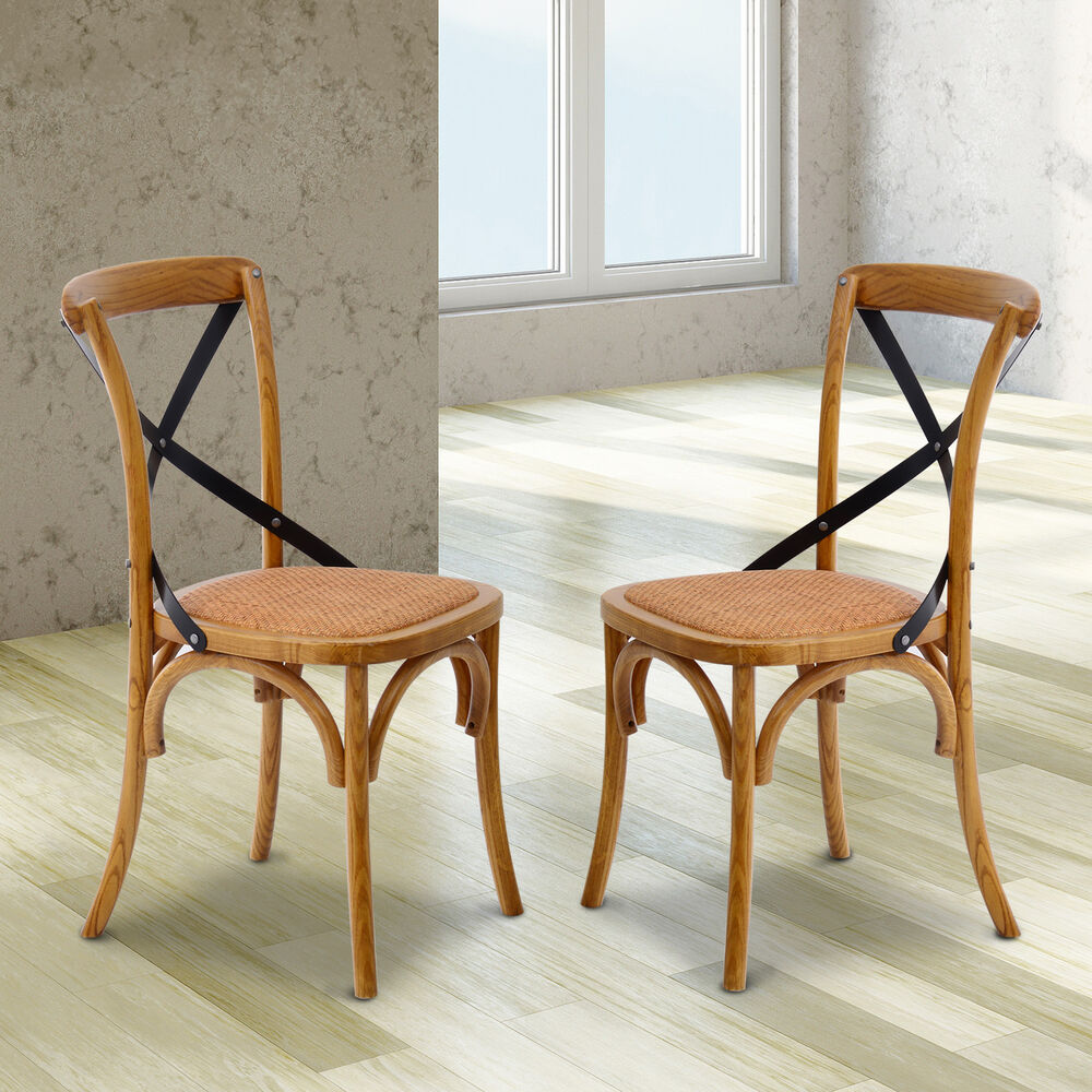 Set of 2 antique wooden dining chairs padded seat rattan for Antique dining room furniture