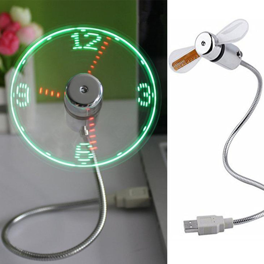 Portable Mini USB LED Clock Fan Cooler with Real Time