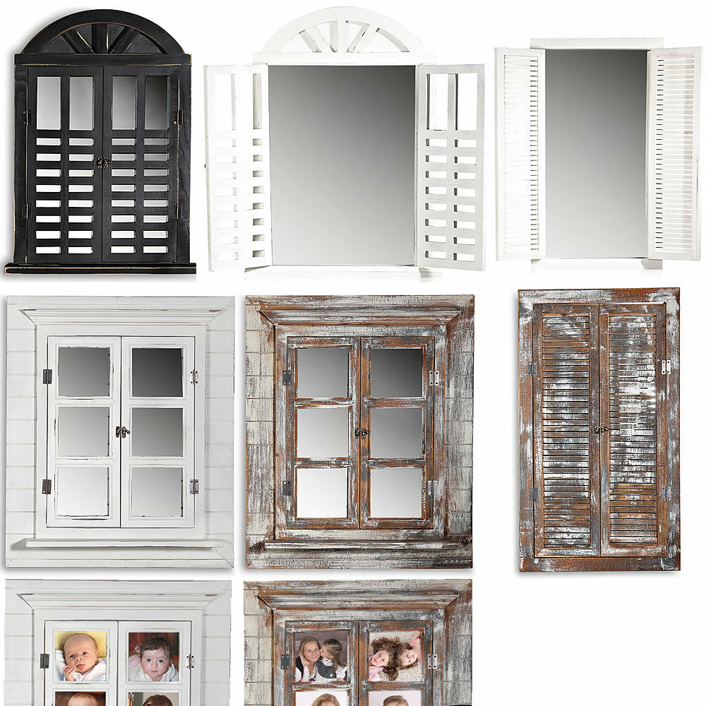 deko spiegel fensterladen shabby holz spiegel rundbogen landhaus wandspiegel ebay. Black Bedroom Furniture Sets. Home Design Ideas