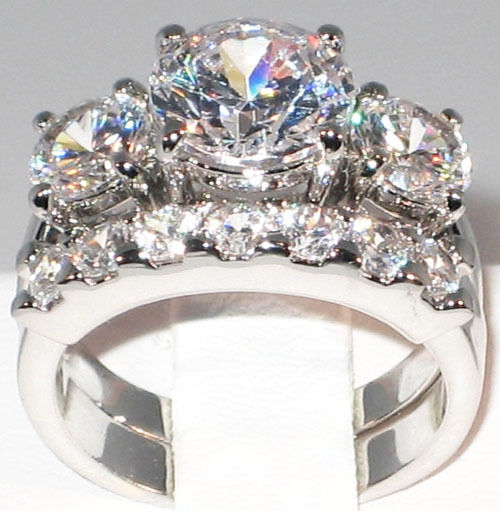 5 1 CT BOLD Past Present & Future CZ Bridal Engagement Wedding Ring Set