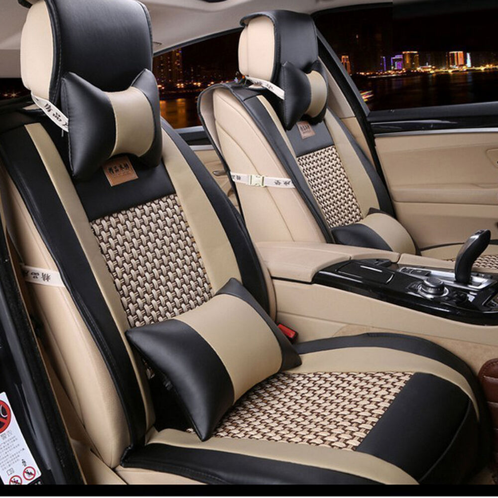 10pcs set pu leather front rear car seat cushion cover for bmw five seats car ebay. Black Bedroom Furniture Sets. Home Design Ideas