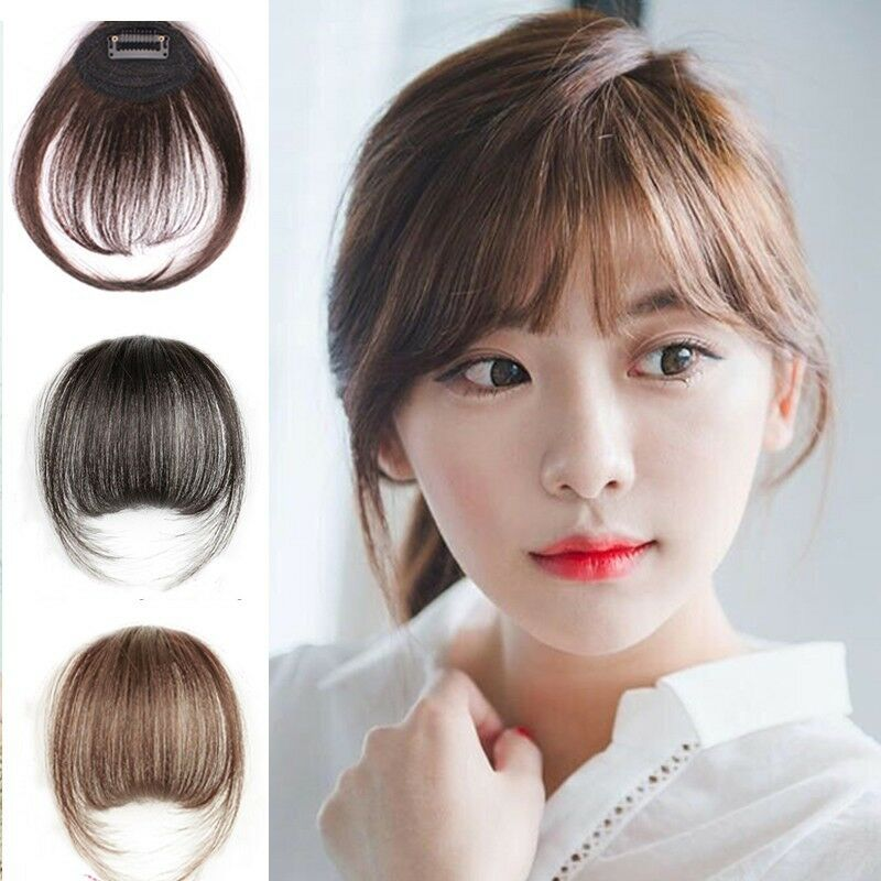 Black Brown Clip In Front Bangs 100 Real Hair Extension