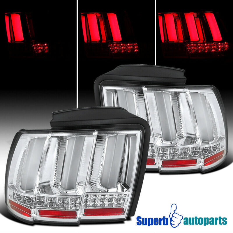 1999 2004 ford mustang sequential led tail lights brake lamp chrome. Black Bedroom Furniture Sets. Home Design Ideas