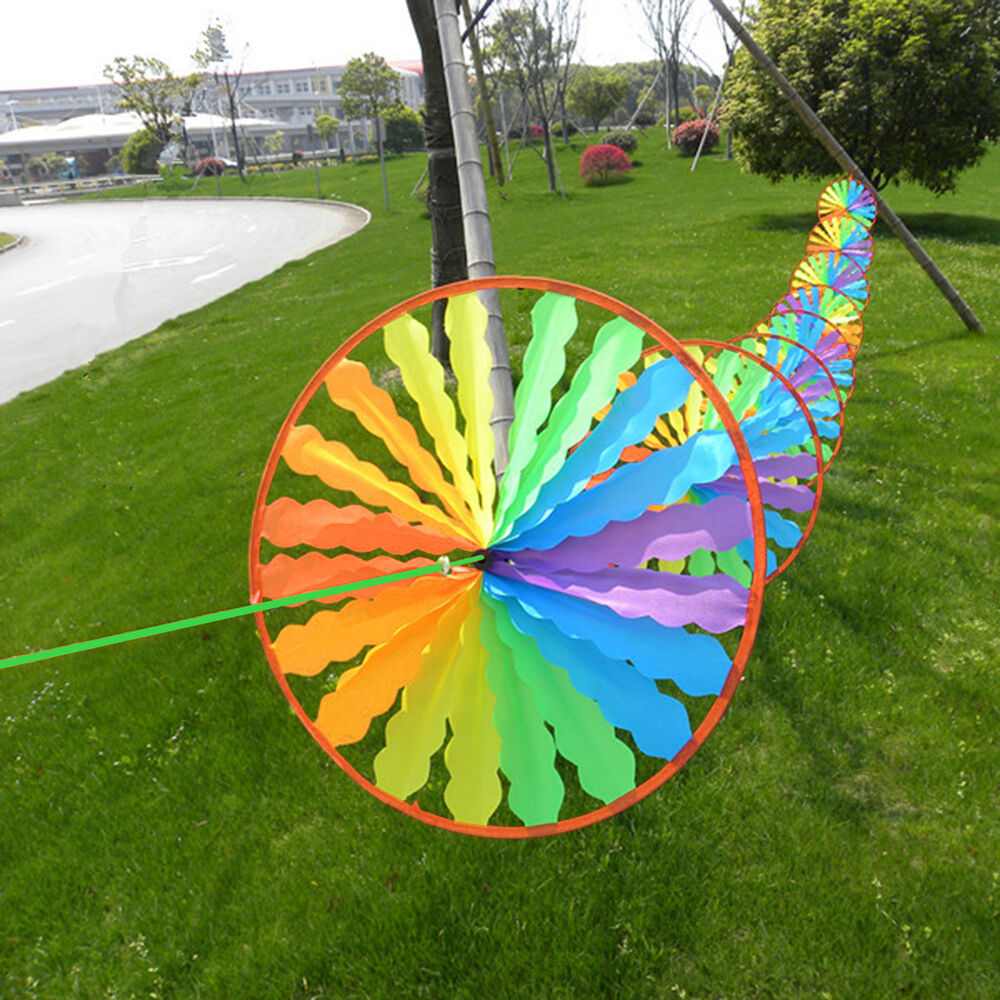 New Rainbow Wheel Windmill Wind Spinner Whirligig Garden
