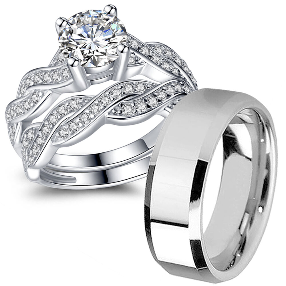ebay wedding ring sets his hers sterling silver cz infinity wedding engagement 3810