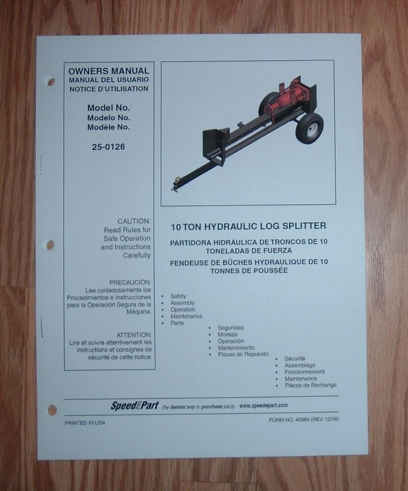 Agri Fab 25 0126 Log Splitter Owners Manual With Parts List Ebay