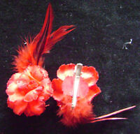 NEW 2 RED ROSE GLITTER FEATHER HAIR CLIP  SHR