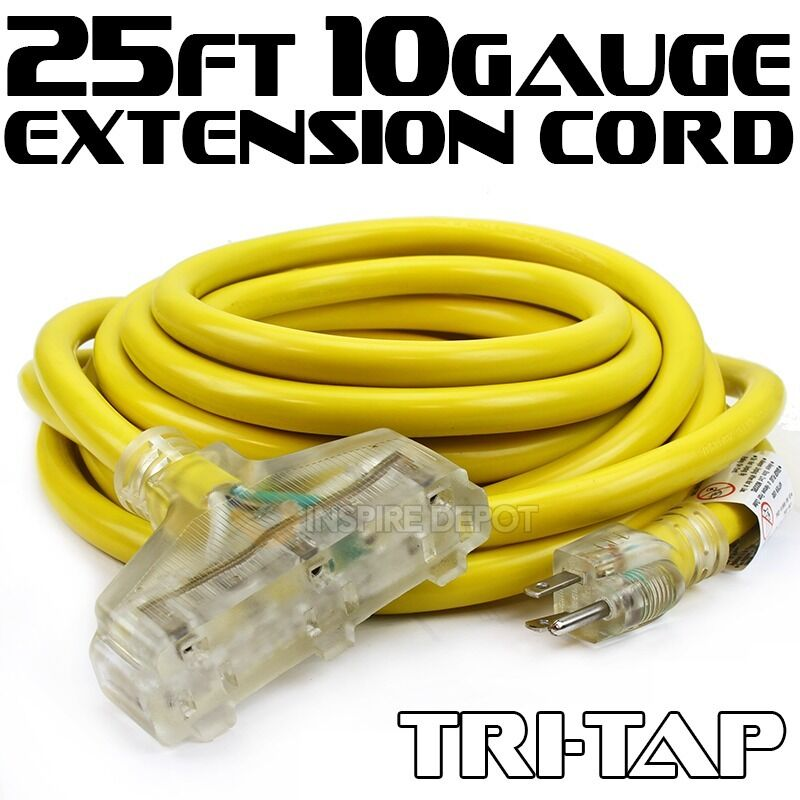 Ul 25 50 Ft 10 12 Gauge Tri Tap Extension Cord Electric