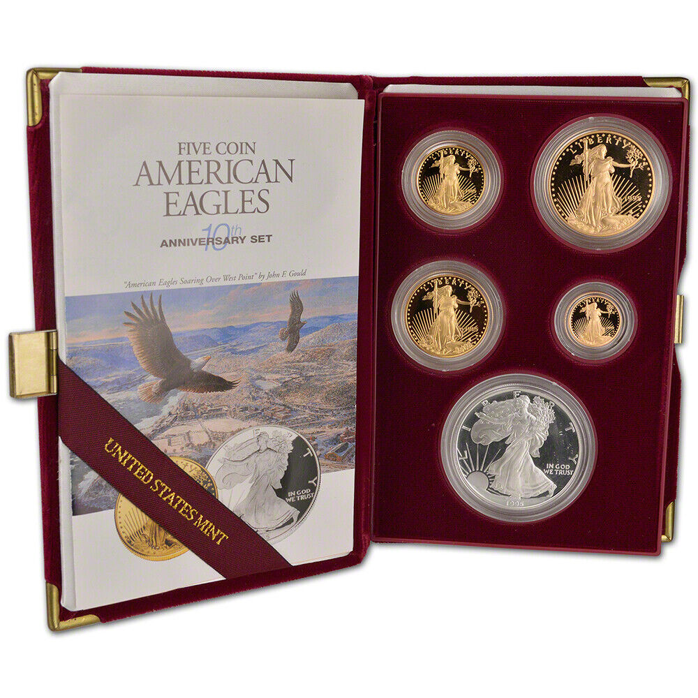 1995 W American Eagle 10th Anniversary Gold Amp Silver Proof