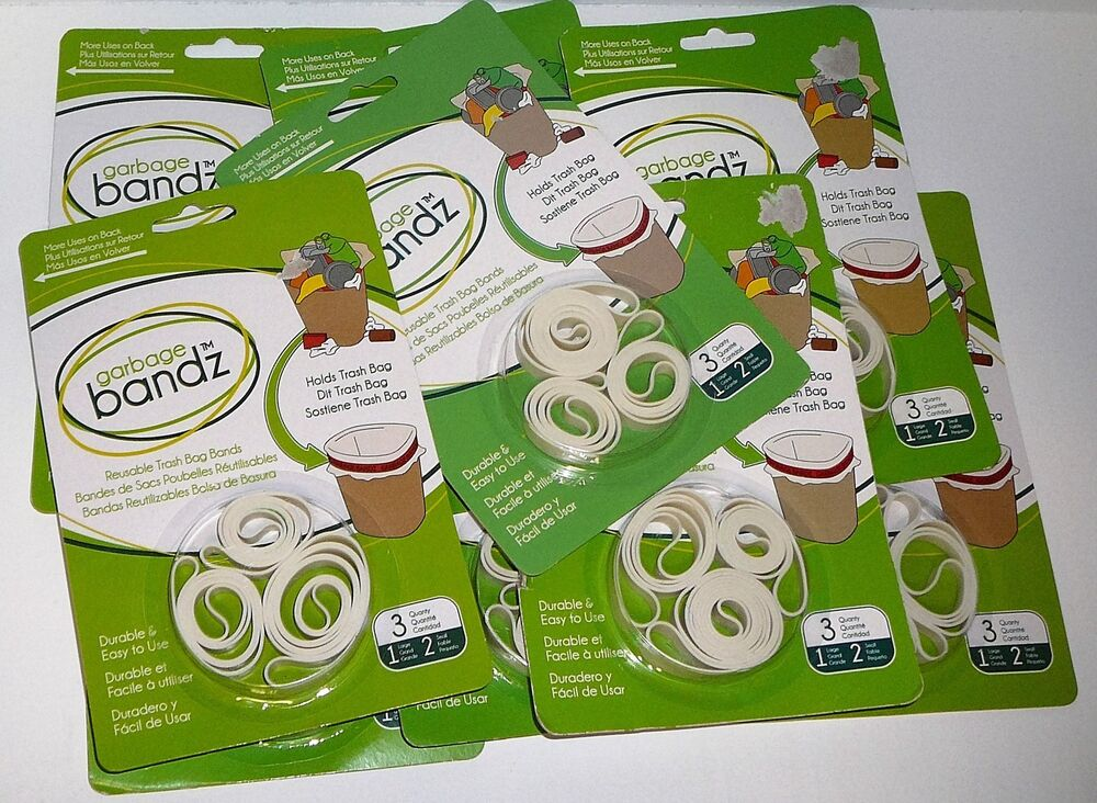 Lot Garbage Bandz Gripper Reusable Trash Bag Can Liner