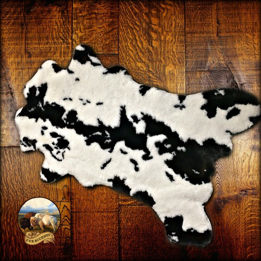 Premium Faux Fur Cowhide Rug Plush Shag Throw Black