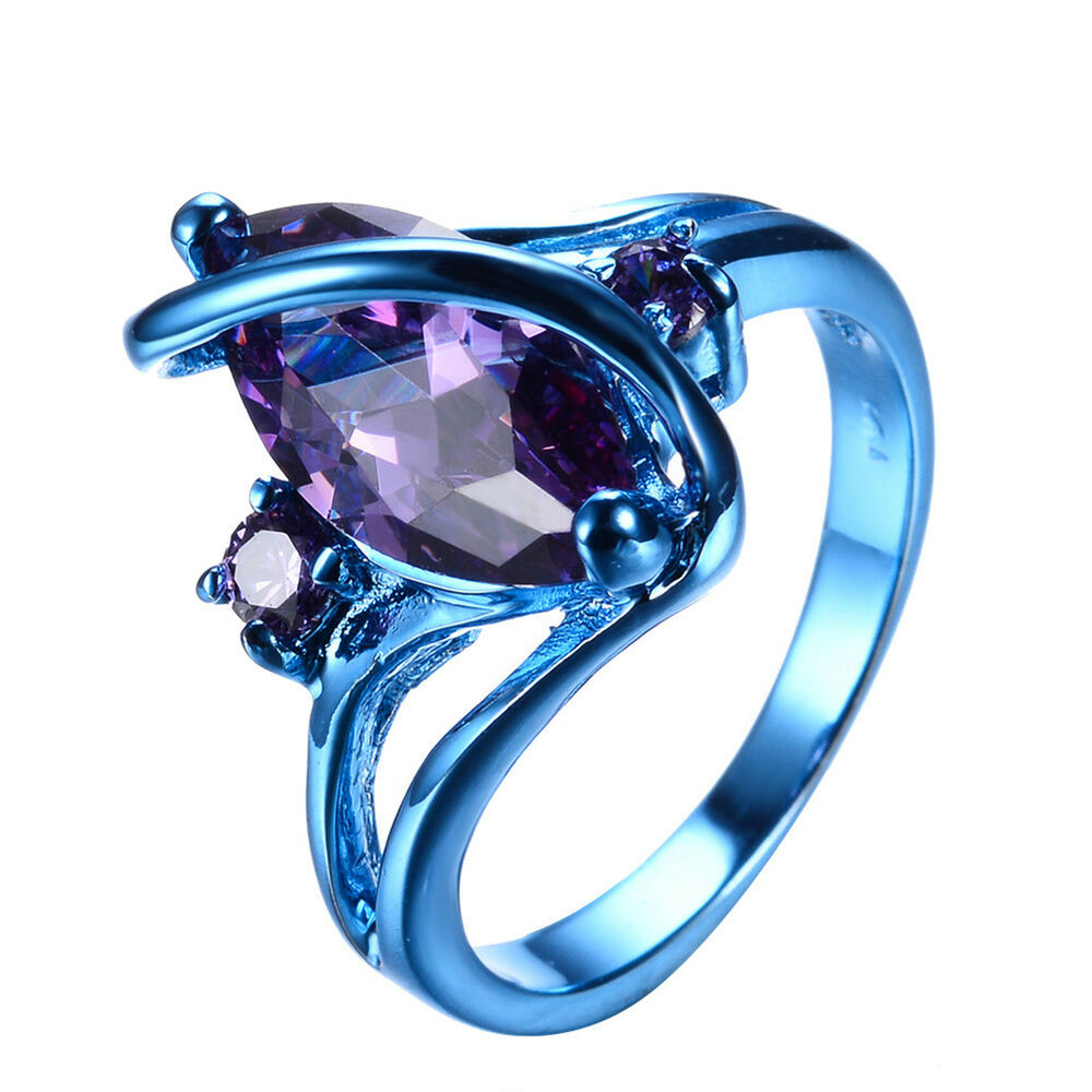 purple wedding ring unqiue marquise cut purple amethyst 10kt blue gold filled 6921