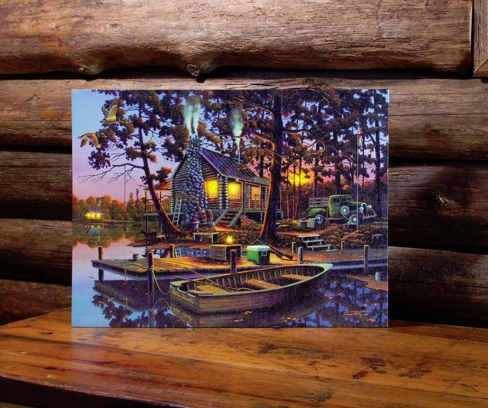 Lighted Canvas Wall Decor : Cabin old truck dog led lighted canvas wall art by