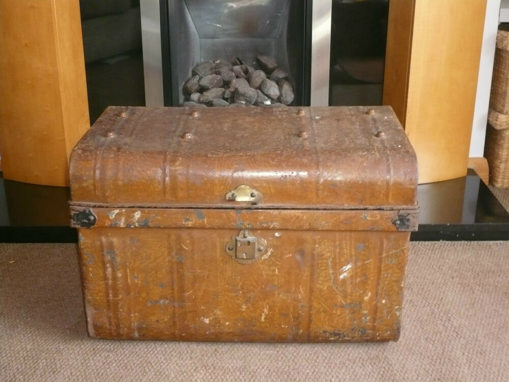Vintage large industrial metal strongbox storage box coffee table chest trunk ebay Metal chest coffee table