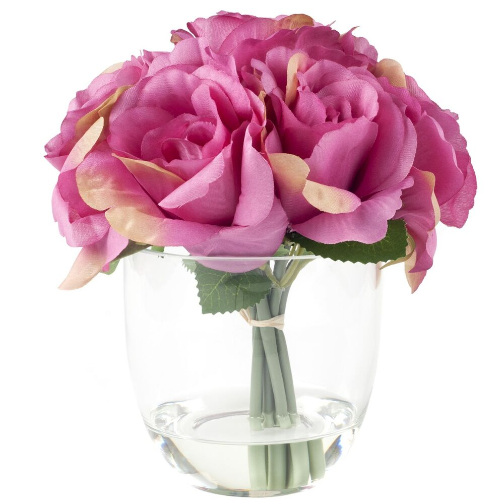 Details About Fl Centerpiece In Gl Vase Rose Flowers 8 X 6 Inches Table Decor Pink
