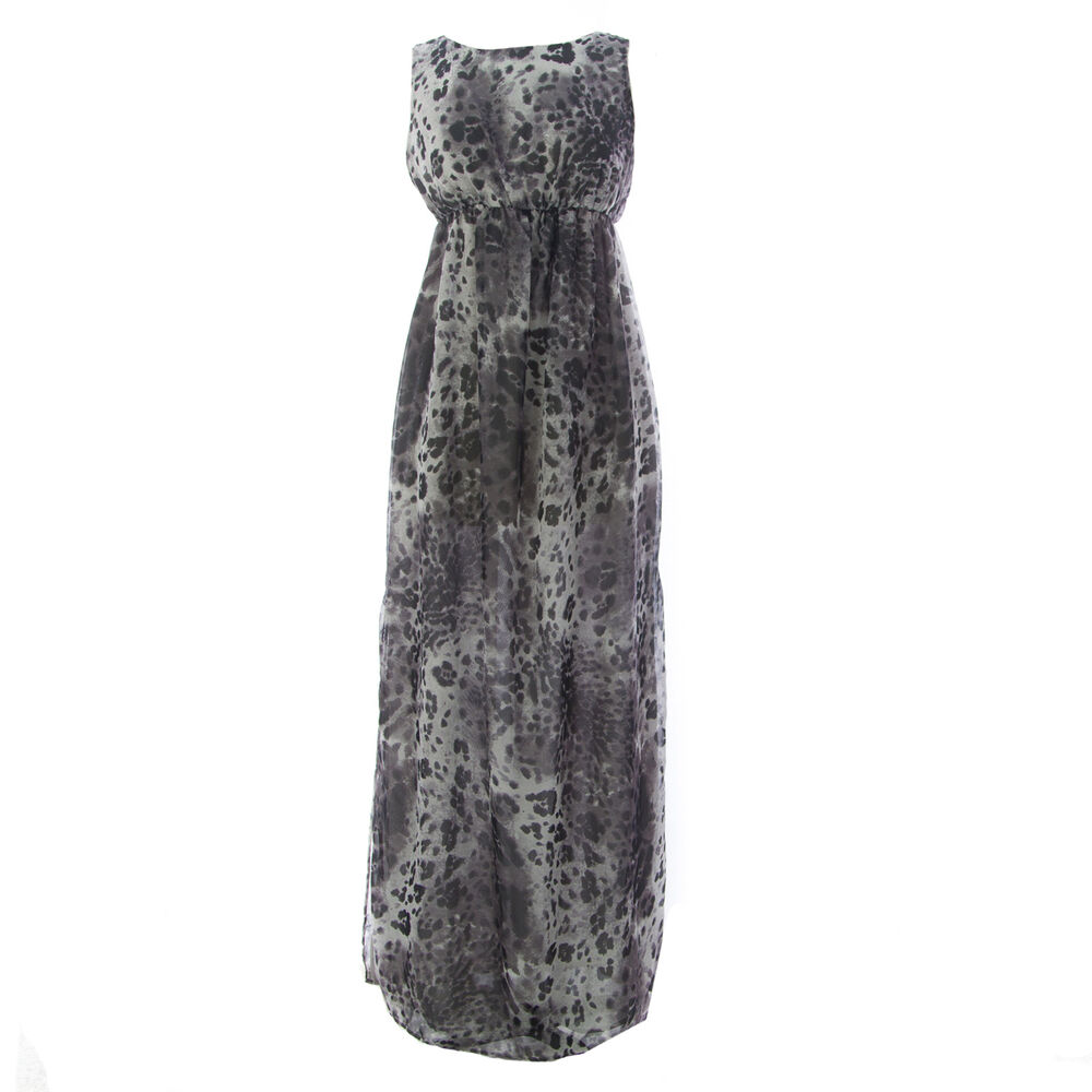 805ee01bd4d33 Details about TOPSHOP MATERNITY Women's Grey Animal Print Long Dress 44DO4A  US Size 4 NEW