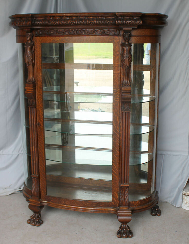 antique china cabinet antique oak curio china cabinet carved mirrored 10633
