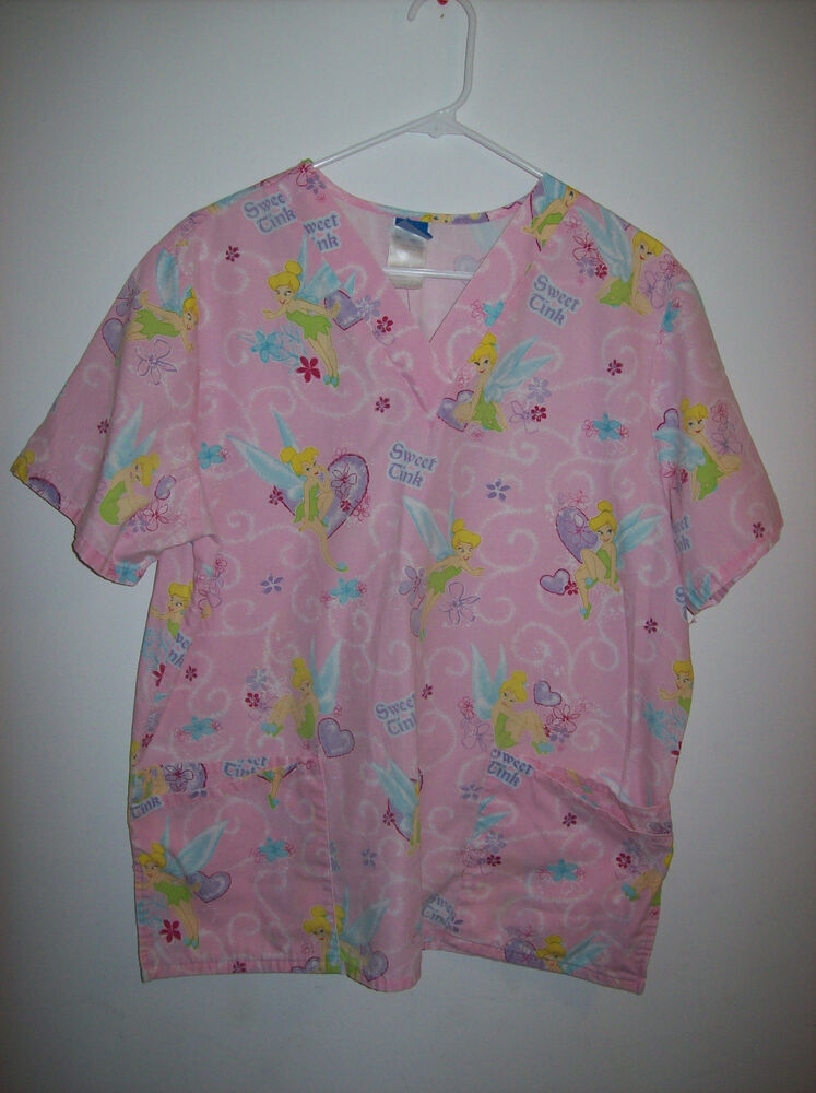 Disney Womens Large Sized Tinkerbell Themed Scrub Top Guc