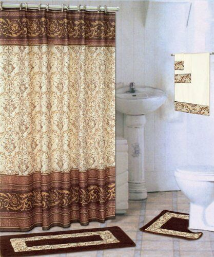 18 piece bath rug set scroll coffee brown bathroom shower for Brown and gold bathroom sets