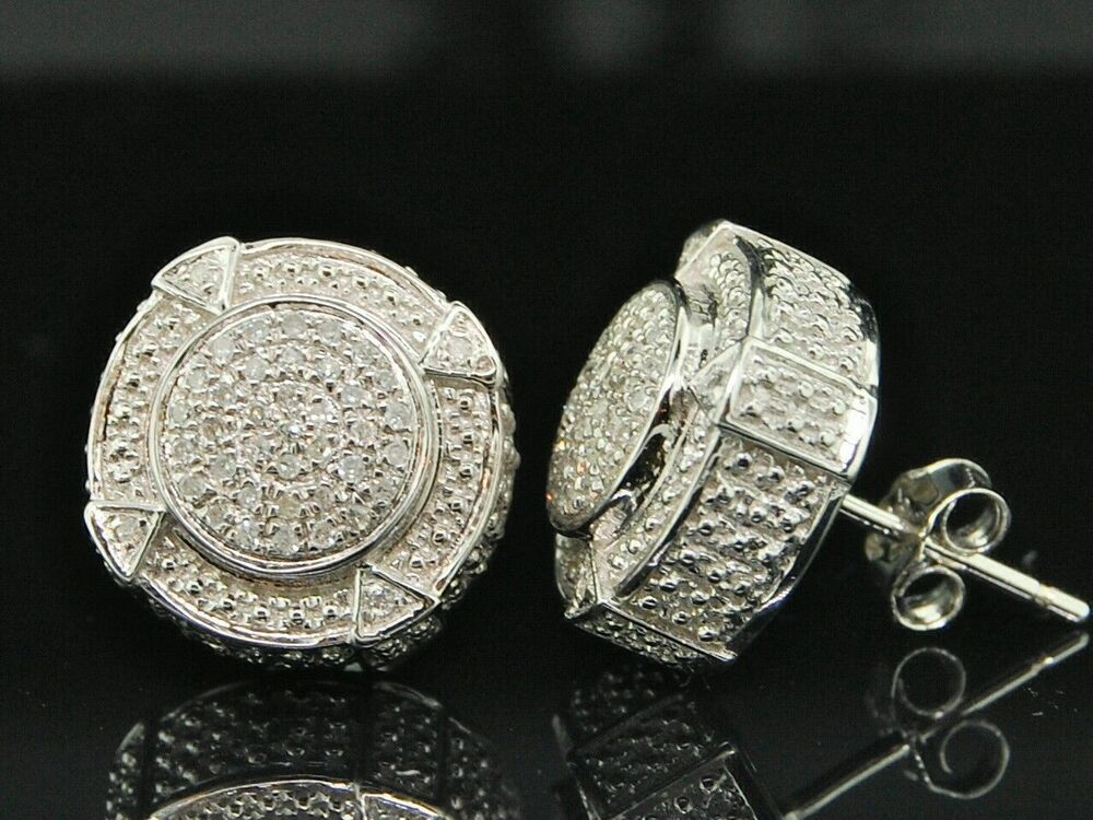 Mens Diamond 3d Circle Earrings 925 Sterling Silver Round