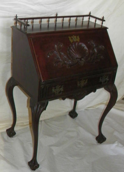Antique Fancy Mahogany Drop Front Small Writing Ladies