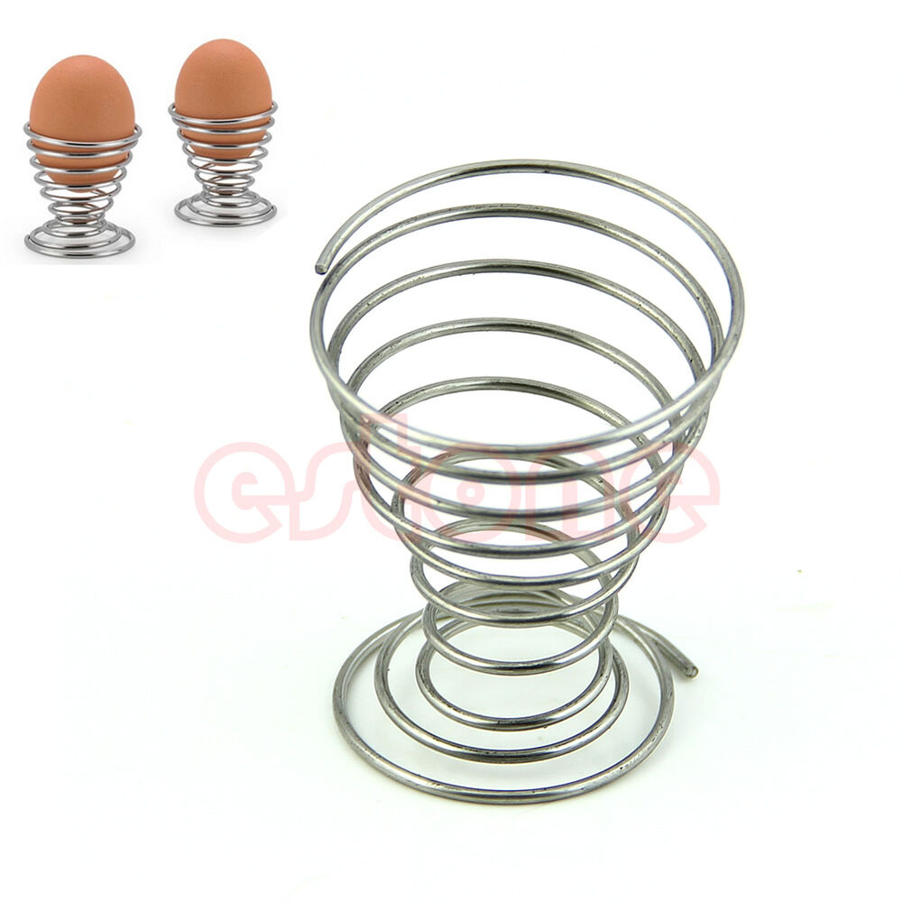 2pcs Stainless Steel Spring Wire Tray Egg Cup Boiled Eggs