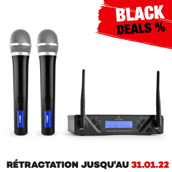 Micro Set Microphones Sans Fil Uhf Main Duo Wireless Chant Discours Récepteur