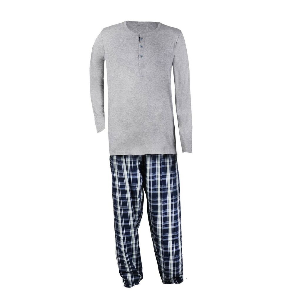 zweiteiliger herren pyjama schlafanzug mit karomuster gr e 48 50 m l ebay. Black Bedroom Furniture Sets. Home Design Ideas