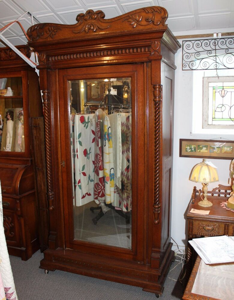 Antique Fancy Oak Wardrobe Armoire With Full Length