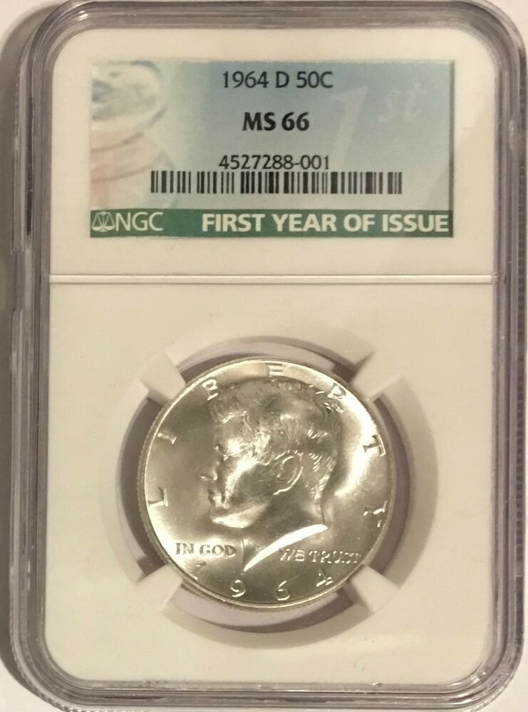 1964 D Ngc Ms66 Silver Kennedy Half Dollar First Year