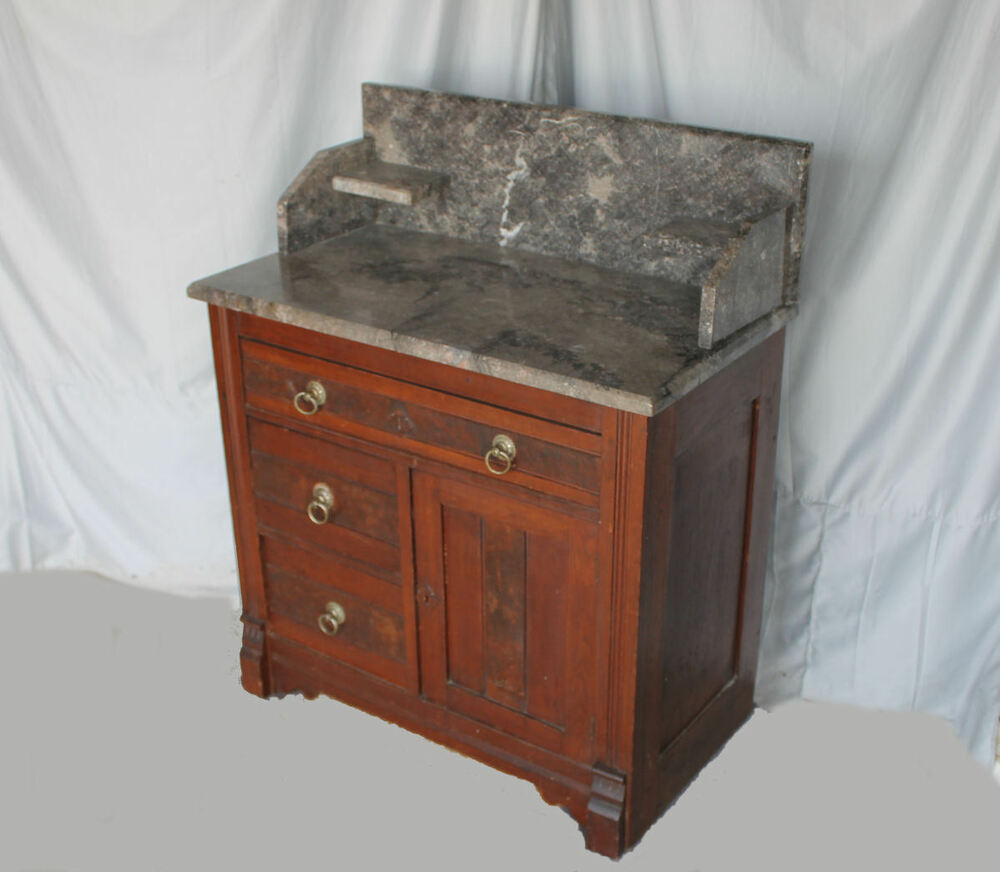 Antique Victorian Walnut Eastlake Marble Top Wash Stand