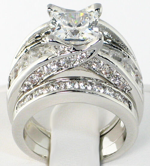 engagement ring wedding band set bridge 5 3 ct princess cut cubic zirconia bridal wedding 3910
