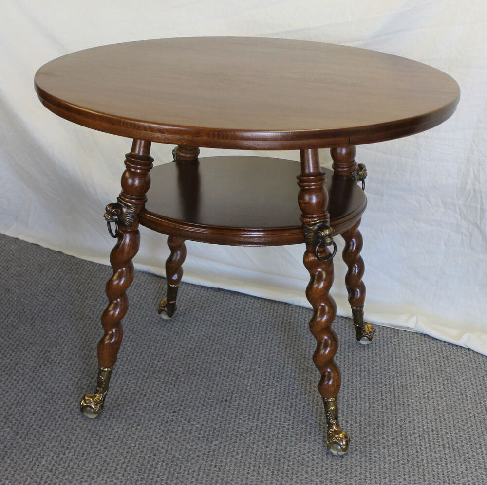 Fancy Round Oak Antique Lamp Table With Claw Ball Feet Ebay