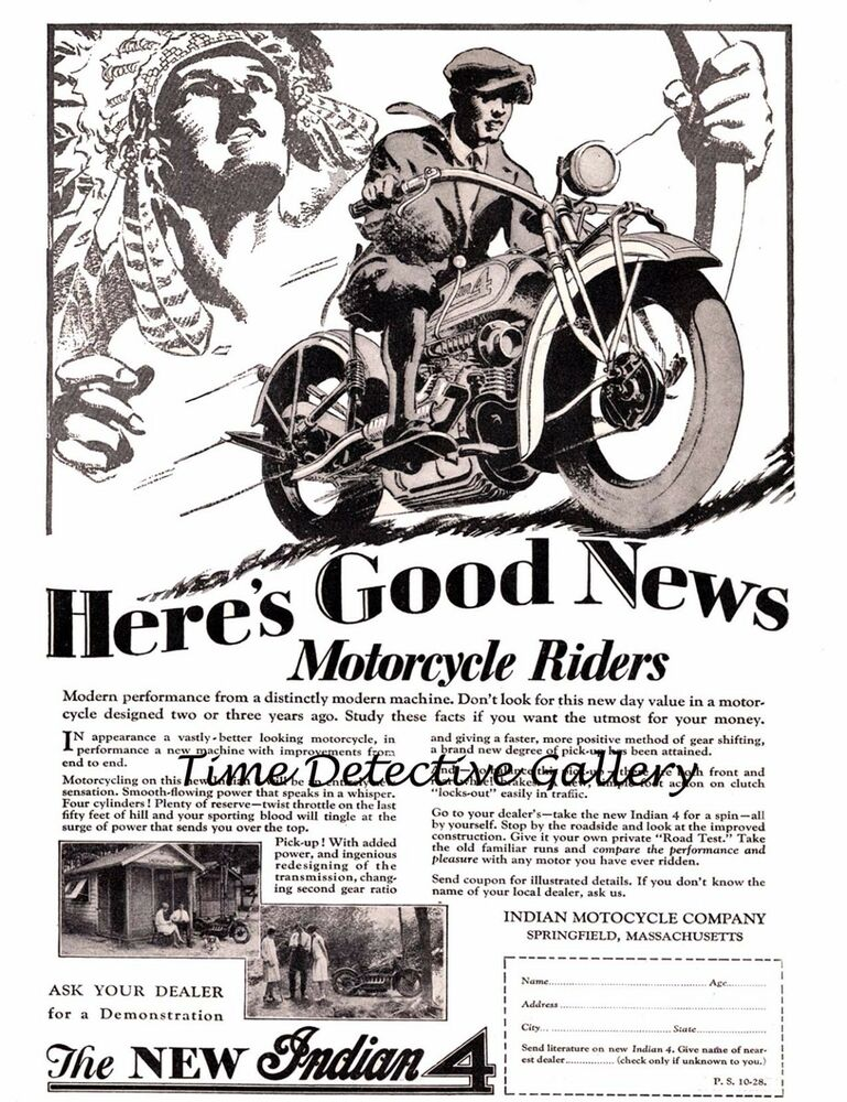 Indian Motorcycle Vintage Advertising Antique Ad Poster