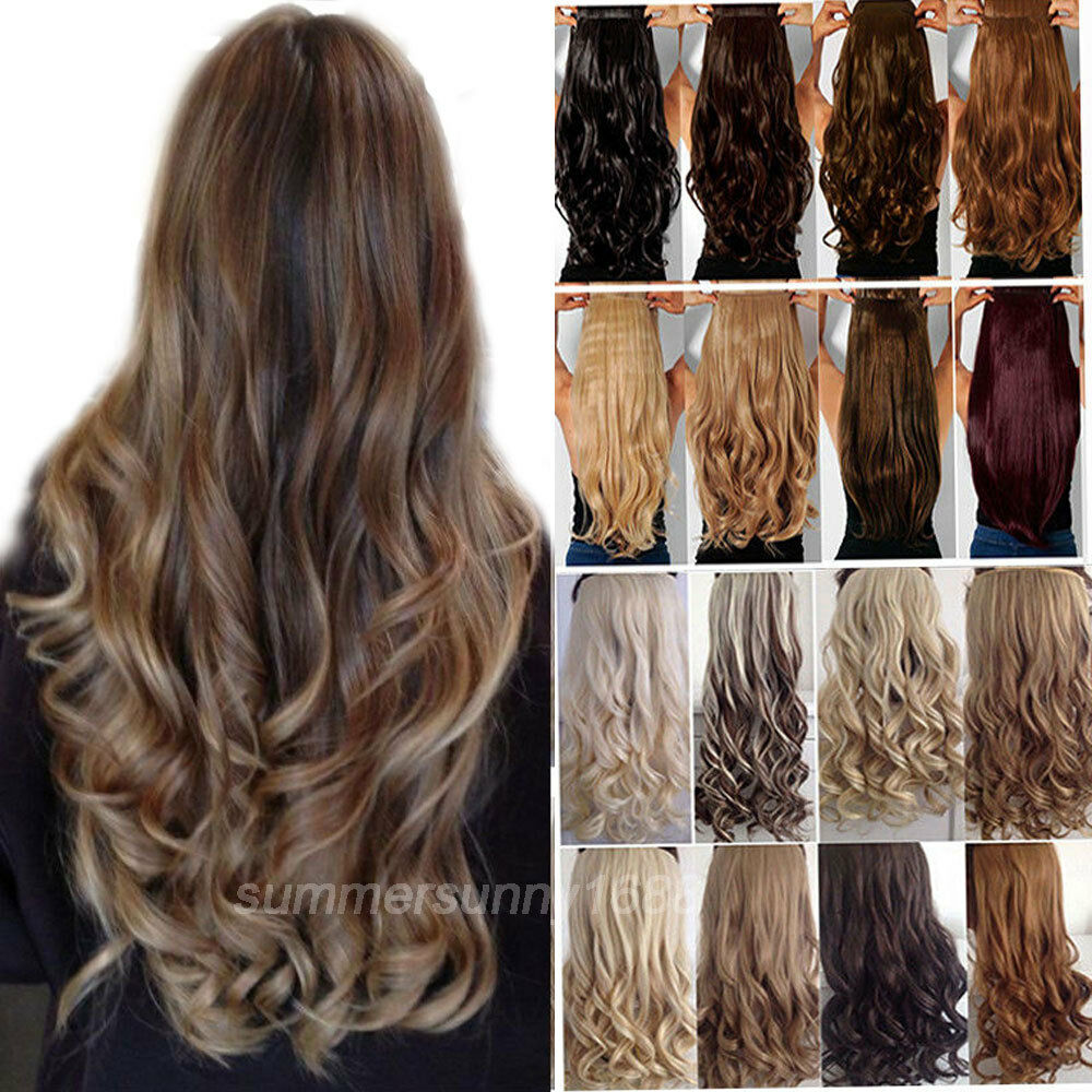 100 Real Soft Long Straight Curly Wavy Clip In Hair