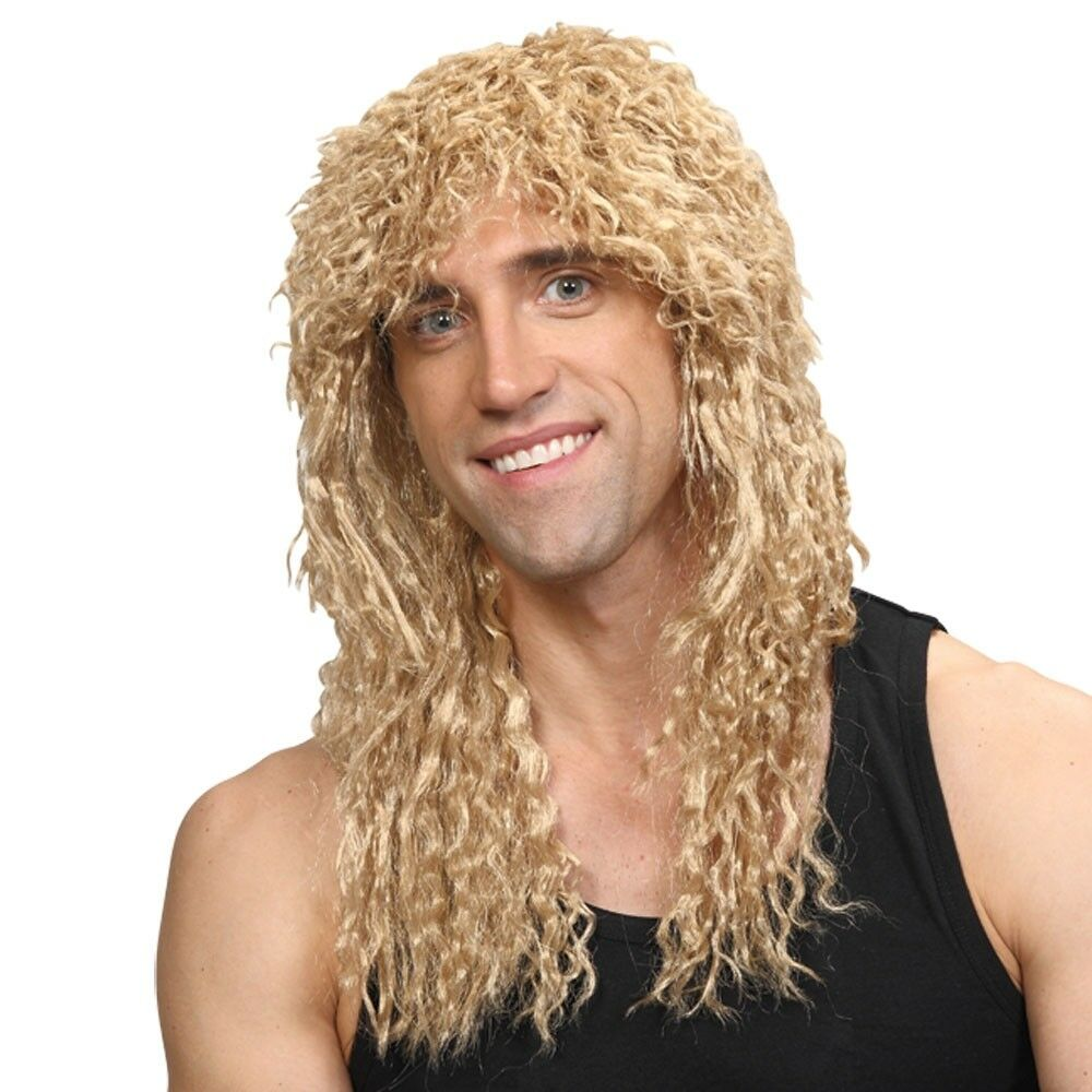 Rockstar Wig Blonde Mens Long Curly 1980s Perm Fancy Dress