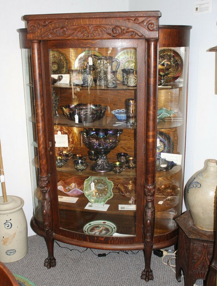 - Antique Oak China Or Curio Cabinet – Lion Heads And Claw Feet EBay
